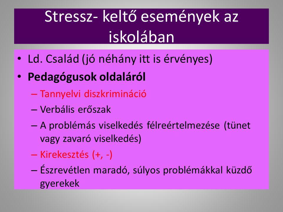Stressz- keltő események az iskolában Ld. Család (jó néhány itt is érvényes) Pedagógusok oldaláról – Tannyelvi diszkrimináció – Verbális erőszak – A p