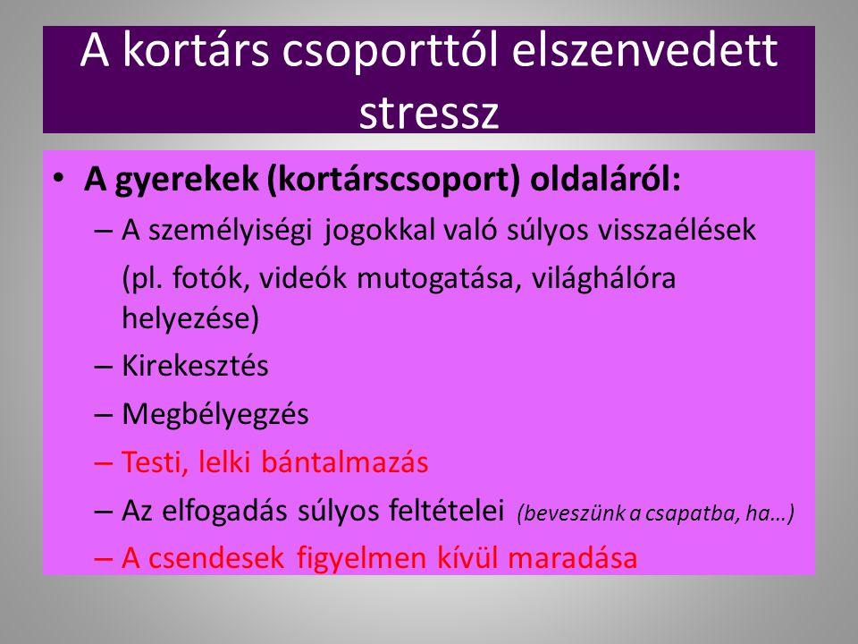 A kortárs csoporttól elszenvedett stressz A gyerekek (kortárscsoport) oldaláról: – A személyiségi jogokkal való súlyos visszaélések (pl. fotók, videók