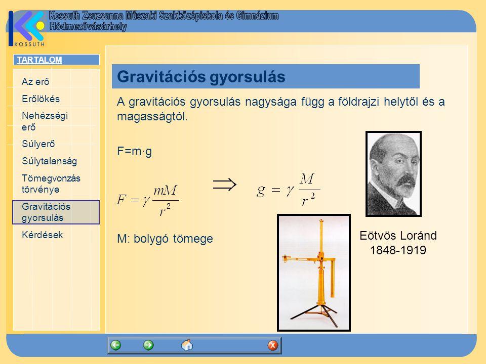TARTALOM Az erő Erőlökés Nehézségi erő Súlyerő Súlytalanság Tömegvonzás törvénye Gravitációs gyorsulás Kérdések A gravitációs gyorsulás nagysága függ