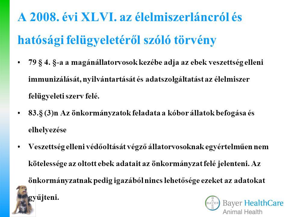 A 2008. évi XLVI. az élelmiszerláncról és hatósági felügyeletéről szóló törvény 79 § 4. §-a a magánállatorvosok kezébe adja az ebek veszettség elleni