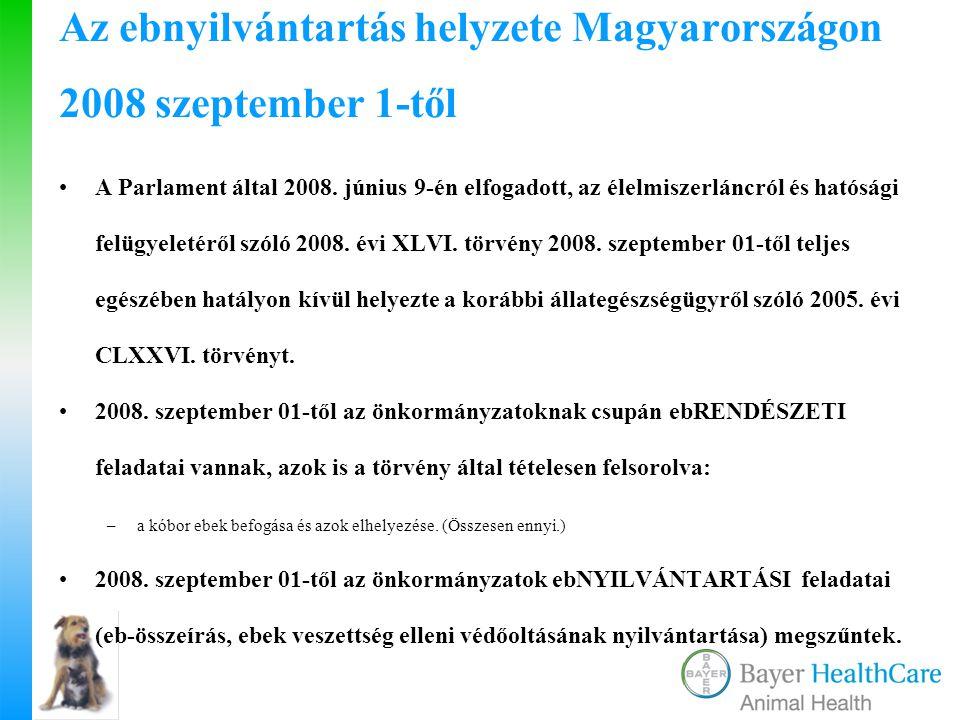 Az ebnyilvántartás helyzete Magyarországon 2008 szeptember 1-től A Parlament által 2008. június 9-én elfogadott, az élelmiszerláncról és hatósági felü