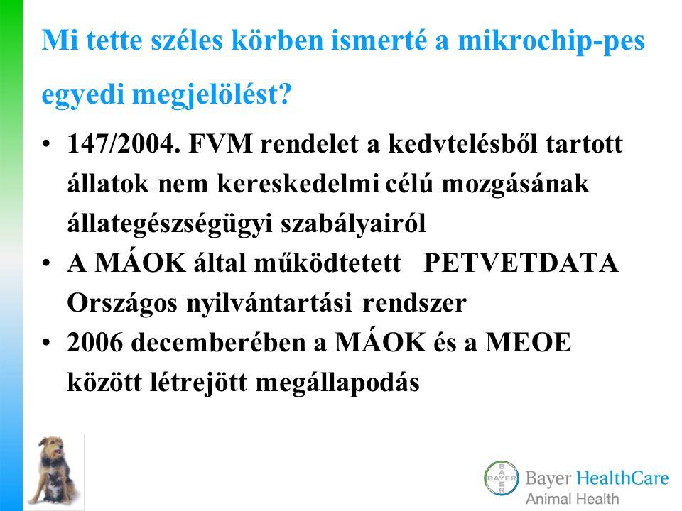 Mi tette széles körben ismerté a mikrochip-pes egyedi megjelölést? 147/2004. FVM rendelet a kedvtelésből tartott állatok nem kereskedelmi célú mozgásá