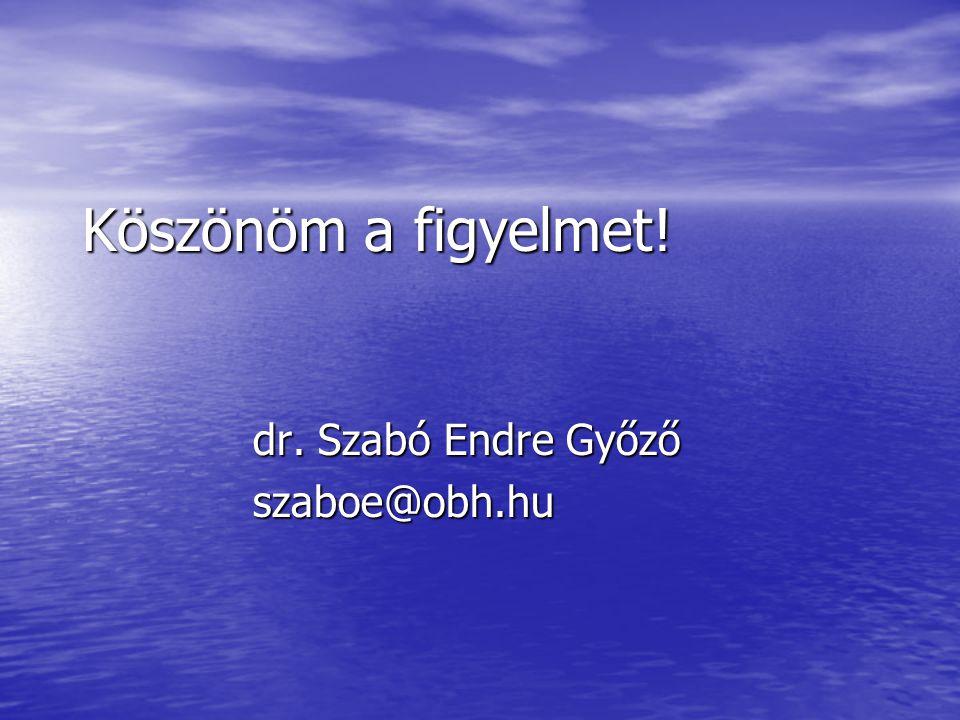 Köszönöm a figyelmet! dr. Szabó Endre Győző szaboe@obh.hu