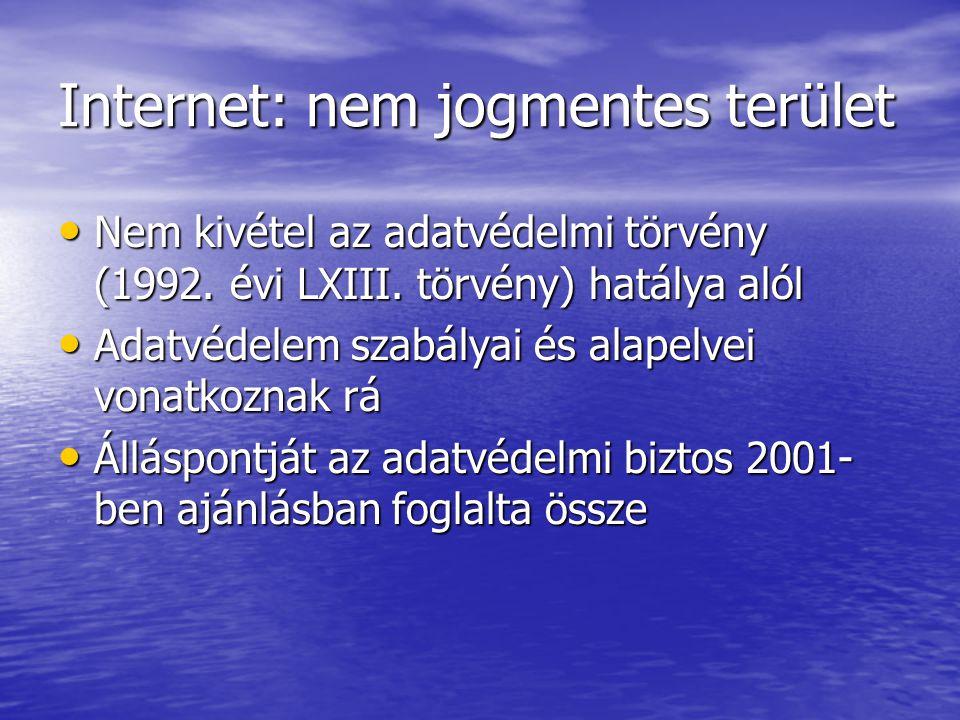 Internet: nem jogmentes terület Nem kivétel az adatvédelmi törvény (1992.