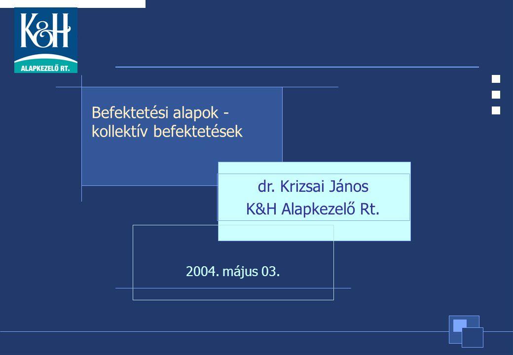1 2004. május 03. Befektetési alapok - kollektív befektetések dr. Krizsai János K&H Alapkezelő Rt.