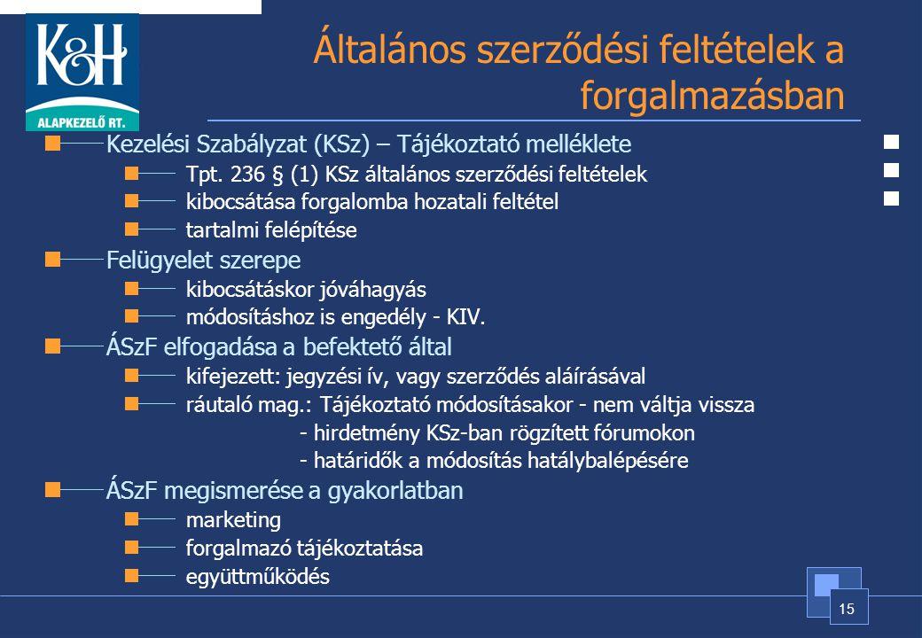 15 Általános szerződési feltételek a forgalmazásban Kezelési Szabályzat (KSz) – Tájékoztató melléklete Tpt. 236 § (1) KSz általános szerződési feltéte