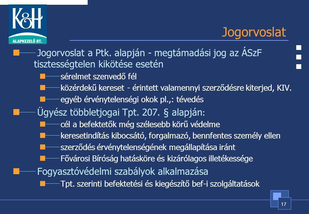 17 Jogorvoslat Jogorvoslat a Ptk. alapján - megtámadási jog az ÁSzF tisztességtelen kikötése esetén sérelmet szenvedő fél közérdekű kereset- érintett