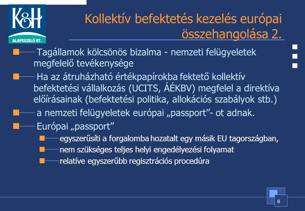 6 Kollektív befektetés kezelés európai összehangolása 2. Tagállamok kölcsönös bizalma - nemzeti felügyeletek megfelelő tevékenysége Ha az átruházható