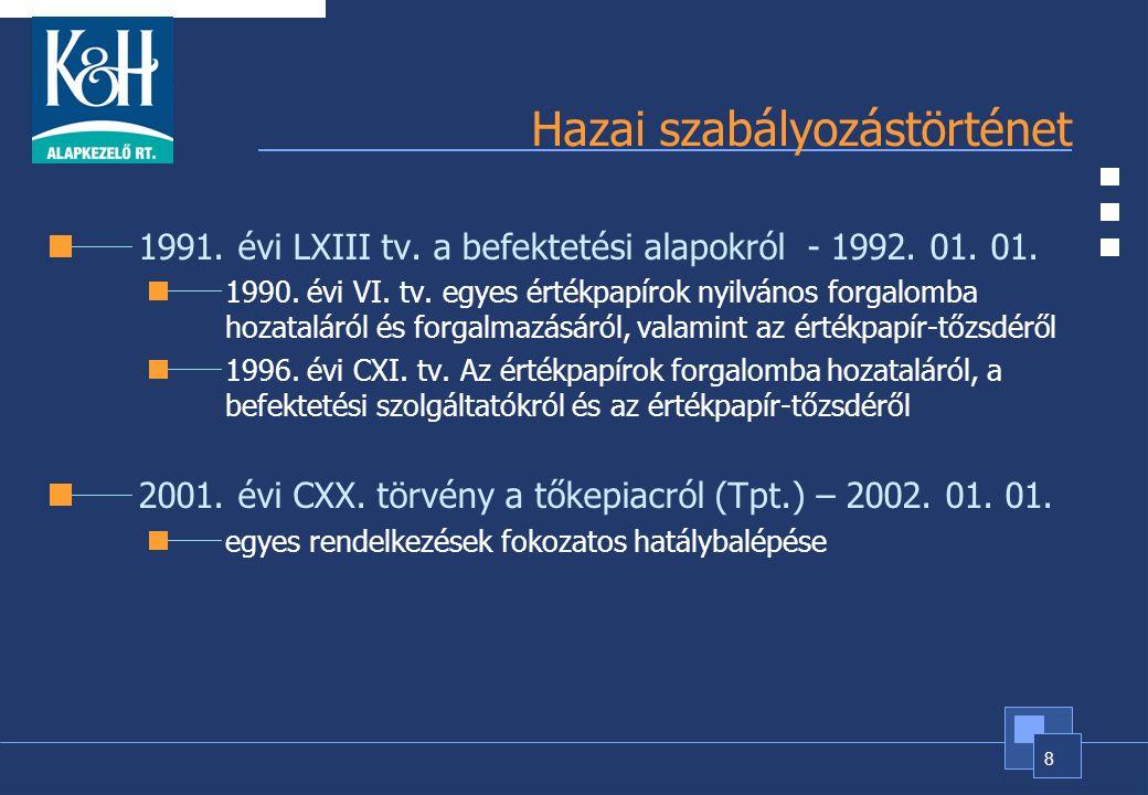 8 Hazai szabályozástörténet 1991. évi LXIII tv. a befektetési alapokról - 1992. 01. 01. 1990. évi VI. tv. egyes értékpapírok nyilvános forgalomba hoza