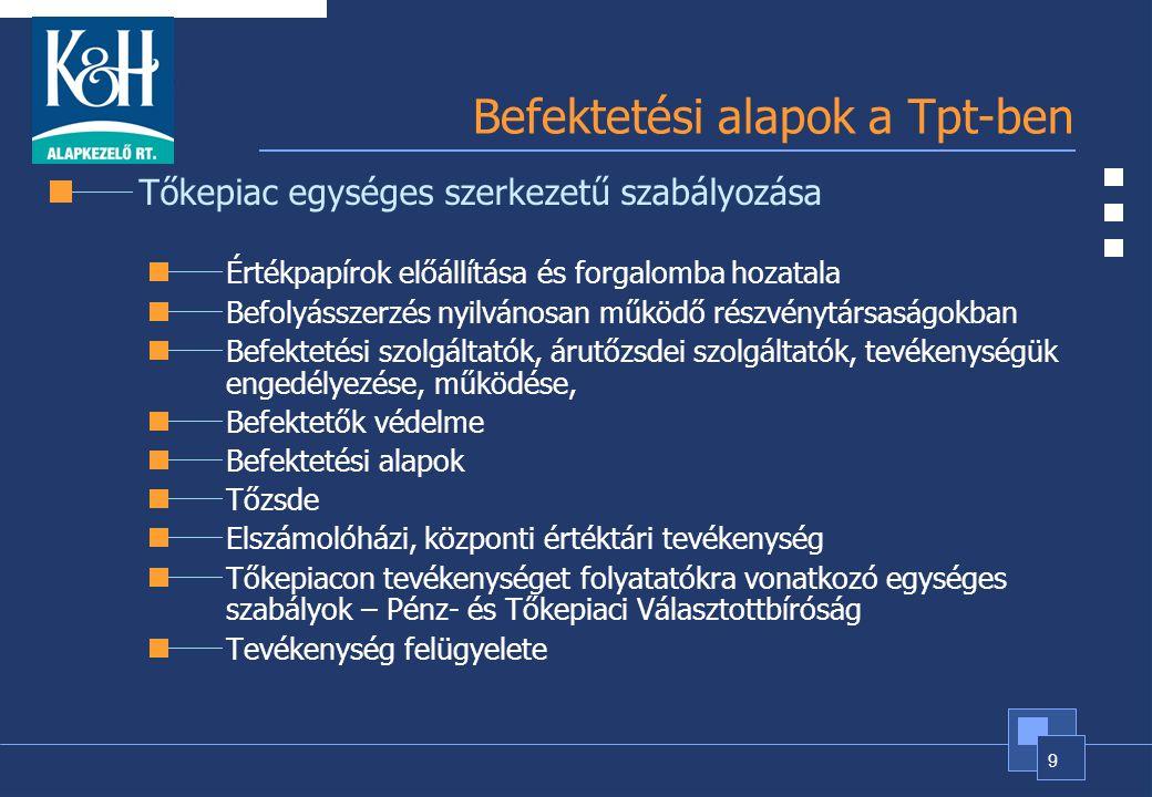 9 Befektetési alapok a Tpt-ben Tőkepiac egységes szerkezetű szabályozása Értékpapírok előállítása és forgalomba hozatala Befolyásszerzés nyilvánosan m