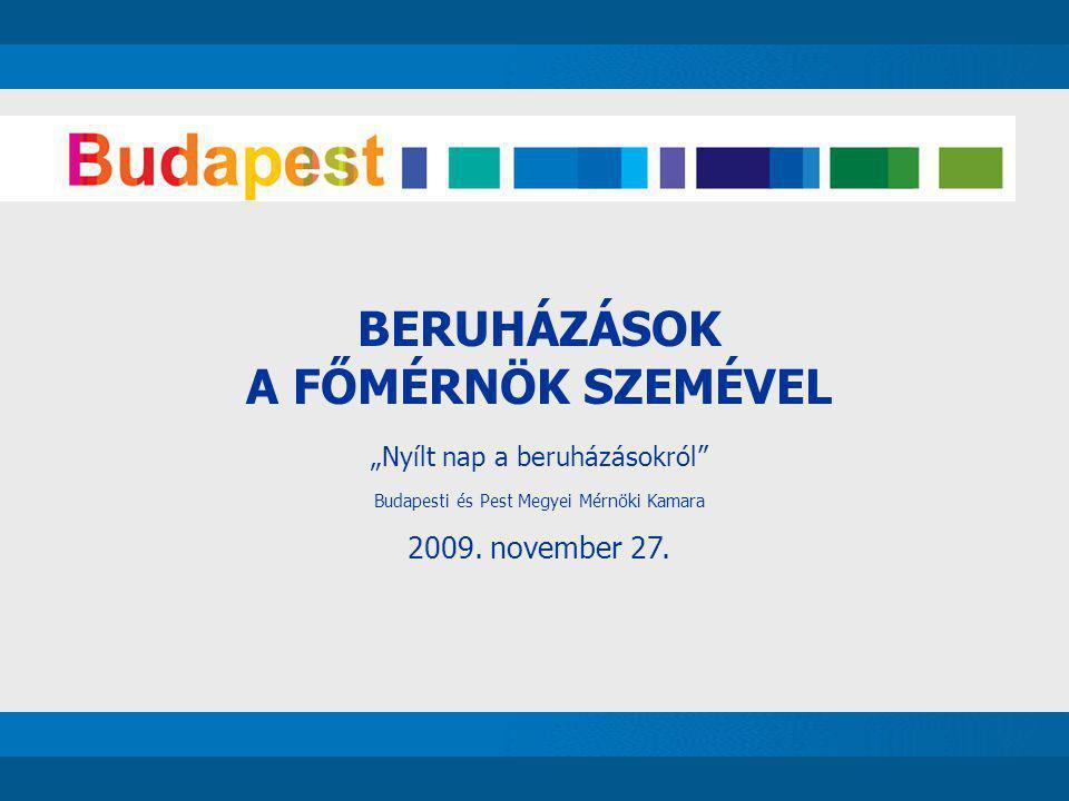"""BERUHÁZÁSOK A FŐMÉRNÖK SZEMÉVEL """"Nyílt nap a beruházásokról"""" Budapesti és Pest Megyei Mérnöki Kamara 2009. november 27."""