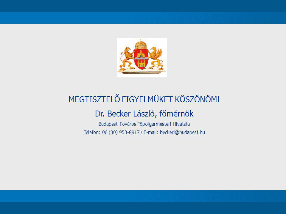 MEGTISZTELŐ FIGYELMÜKET KÖSZÖNÖM! Dr. Becker László, főmérnök Budapest Főváros Főpolgármesteri Hivatala Telefon: 06 (30) 953-8917 / E-mail: beckerl@bu