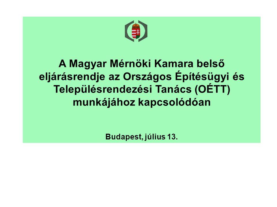 A Magyar Mérnöki Kamara belső eljárásrendje az Országos Építésügyi és Településrendezési Tanács (OÉTT) munkájához kapcsolódóan Budapest, július 13.
