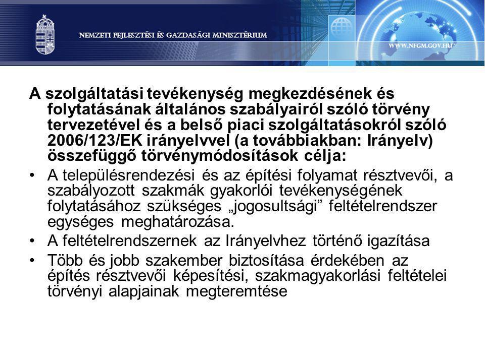 A szolgáltatási tevékenység megkezdésének és folytatásának általános szabályairól szóló törvény tervezetével és a belső piaci szolgáltatásokról szóló
