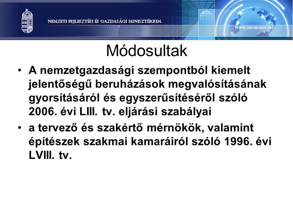 Módosultak A nemzetgazdasági szempontból kiemelt jelentőségű beruházások megvalósításának gyorsításáról és egyszerűsítéséről szóló 2006. évi LIII. tv.