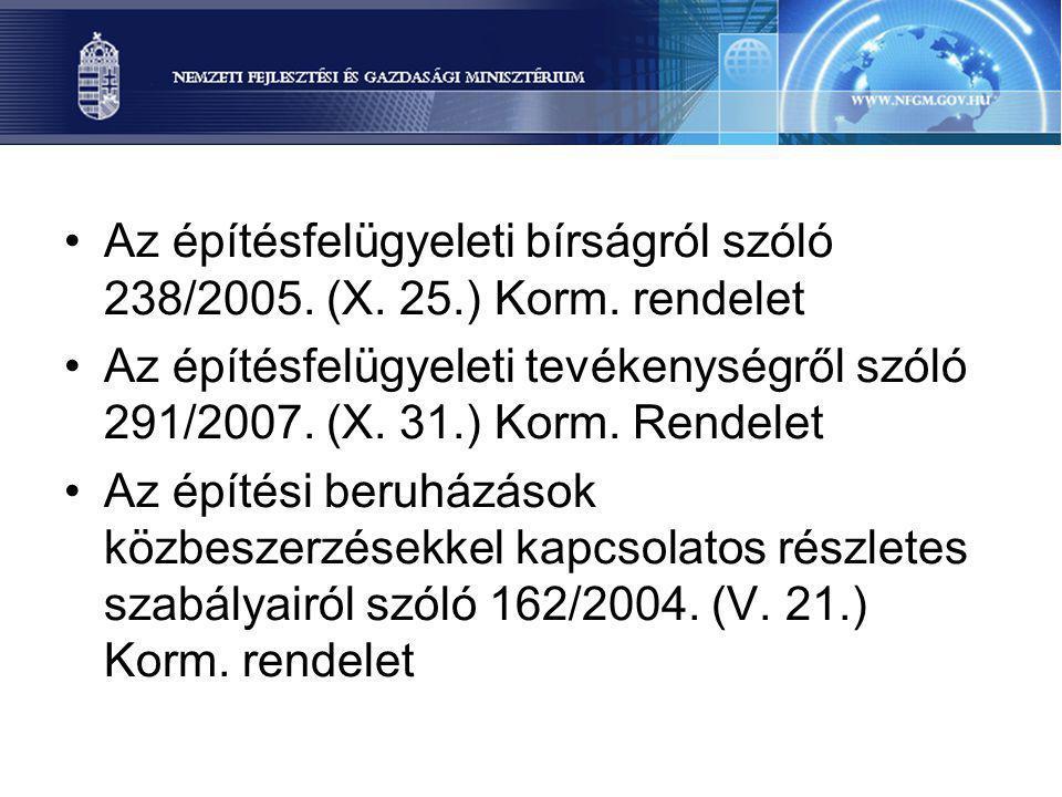 Az építésfelügyeleti bírságról szóló 238/2005. (X. 25.) Korm. rendelet Az építésfelügyeleti tevékenységről szóló 291/2007. (X. 31.) Korm. Rendelet Az