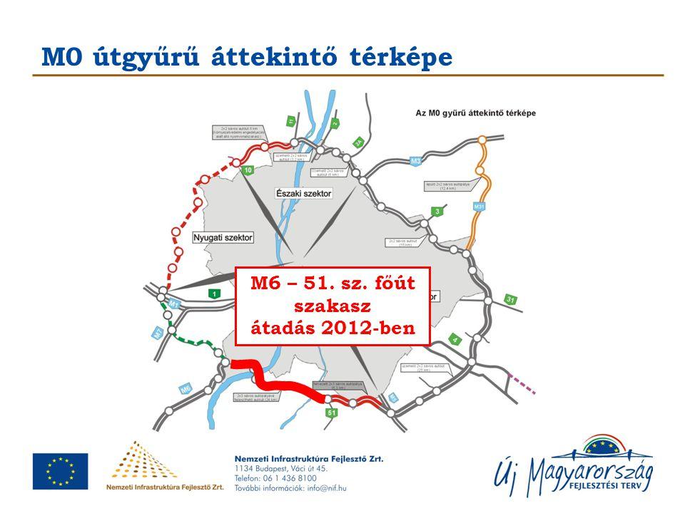 M0 útgyűrű áttekintő térképe M6 – 51. sz. főút szakasz átadás 2012-ben