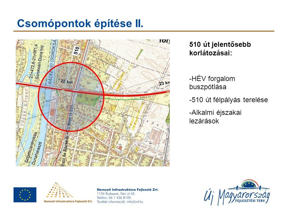 Csomópontok építése II. 510 út jelentősebb korlátozásai: -HÉV forgalom buszpótlása -510 út félpályás terelése -Alkalmi éjszakai lezárások