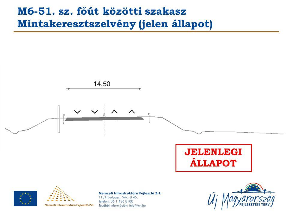 M6-51. sz. főút közötti szakasz Mintakeresztszelvény (jelen állapot) JELENLEGI ÁLLAPOT