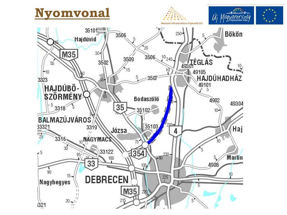 Műszaki tartalom 11,9 km új út 2x1 forgalmi sávval, korona szélesség 12,00 m, burkolat szélesség 7,50 m két szintbeli csomópont közvilágítással két híd (Debrecen - Tiszalök vasútvonal felett és egy vadátjáró) Környezetvédelem: zajvédő fal:1.855 m vadvédő kerítés:13.771 m madárvédő fal:7.253 m fatelepítés:1.400 db cserjeültetés: 60.476 db burkolt árok: 19.853 m vadátjáró: 1db