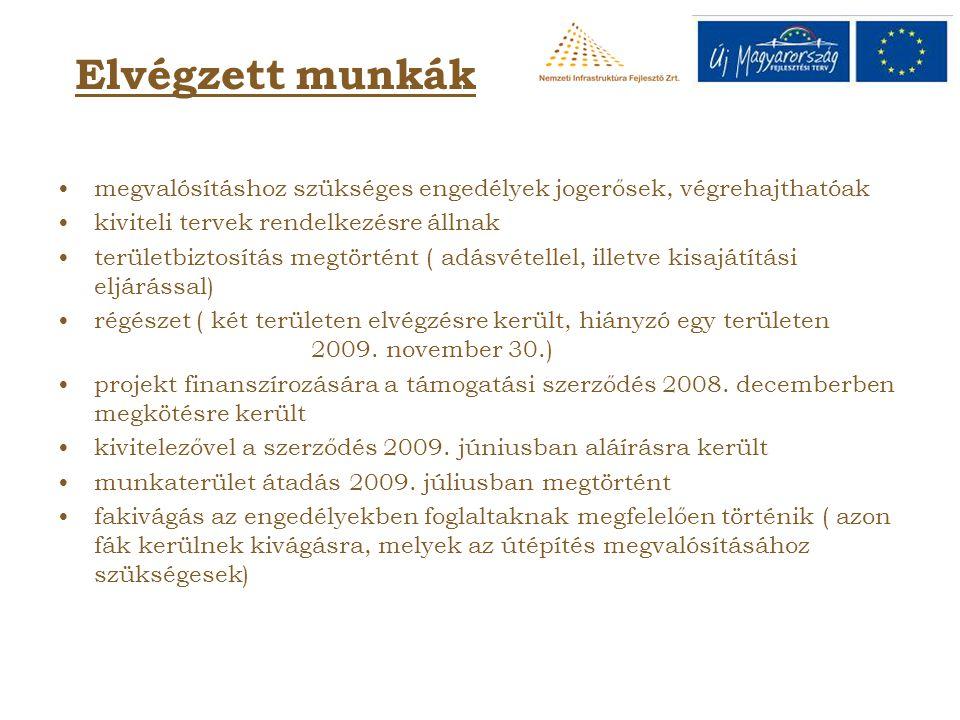 Elvégzett munkák megvalósításhoz szükséges engedélyek jogerősek, végrehajthatóak kiviteli tervek rendelkezésre állnak területbiztosítás megtörtént ( a