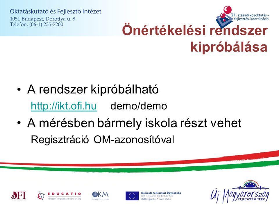 Önértékelési rendszer kipróbálása A rendszer kipróbálható http://ikt.ofi.huhttp://ikt.ofi.hu demo/demo A mérésben bármely iskola részt vehet Regisztrá
