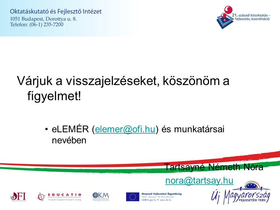 Várjuk a visszajelzéseket, köszönöm a figyelmet! eLEMÉR (elemer@ofi.hu) és munkatársai nevébenelemer@ofi.hu Tartsayné Németh Nóra nora@tartsay.hu