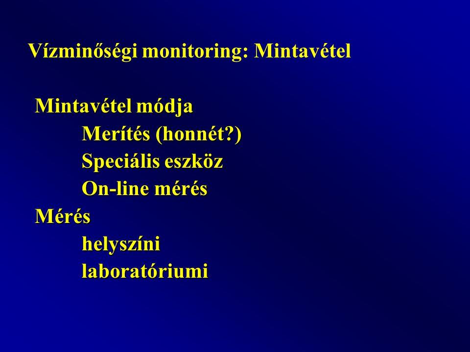 Mintavétel módja Merítés (honnét?) Speciális eszköz On-line mérés Méréshelyszínilaboratóriumi Vízminőségi monitoring: Mintavétel