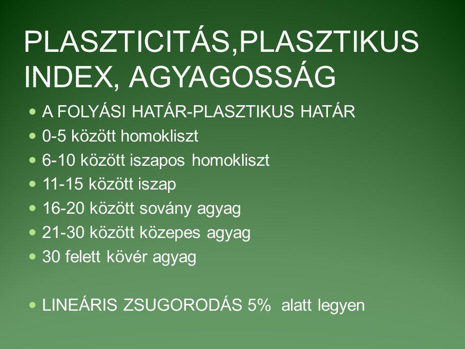 PLASZTICITÁS,PLASZTIKUS INDEX, AGYAGOSSÁG A FOLYÁSI HATÁR-PLASZTIKUS HATÁR 0-5 között homokliszt 6-10 között iszapos homokliszt 11-15 között iszap 16-