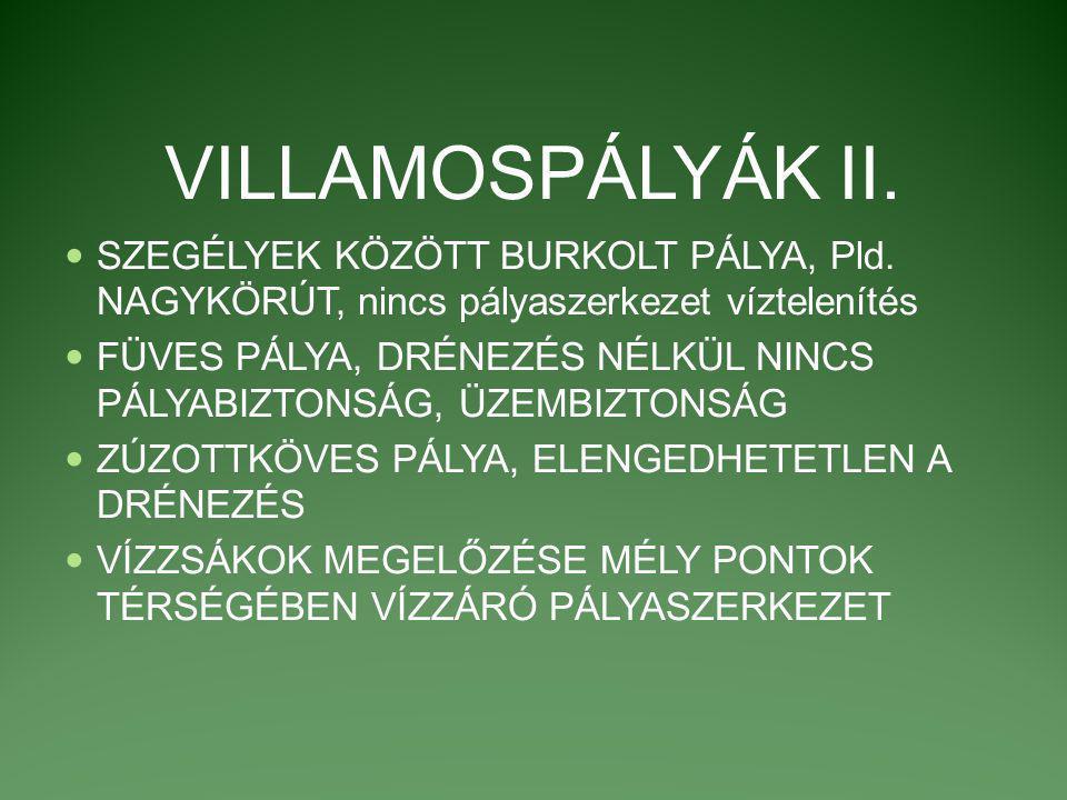 VILLAMOSPÁLYÁK II. SZEGÉLYEK KÖZÖTT BURKOLT PÁLYA, Pld. NAGYKÖRÚT, nincs pályaszerkezet víztelenítés FÜVES PÁLYA, DRÉNEZÉS NÉLKÜL NINCS PÁLYABIZTONSÁG