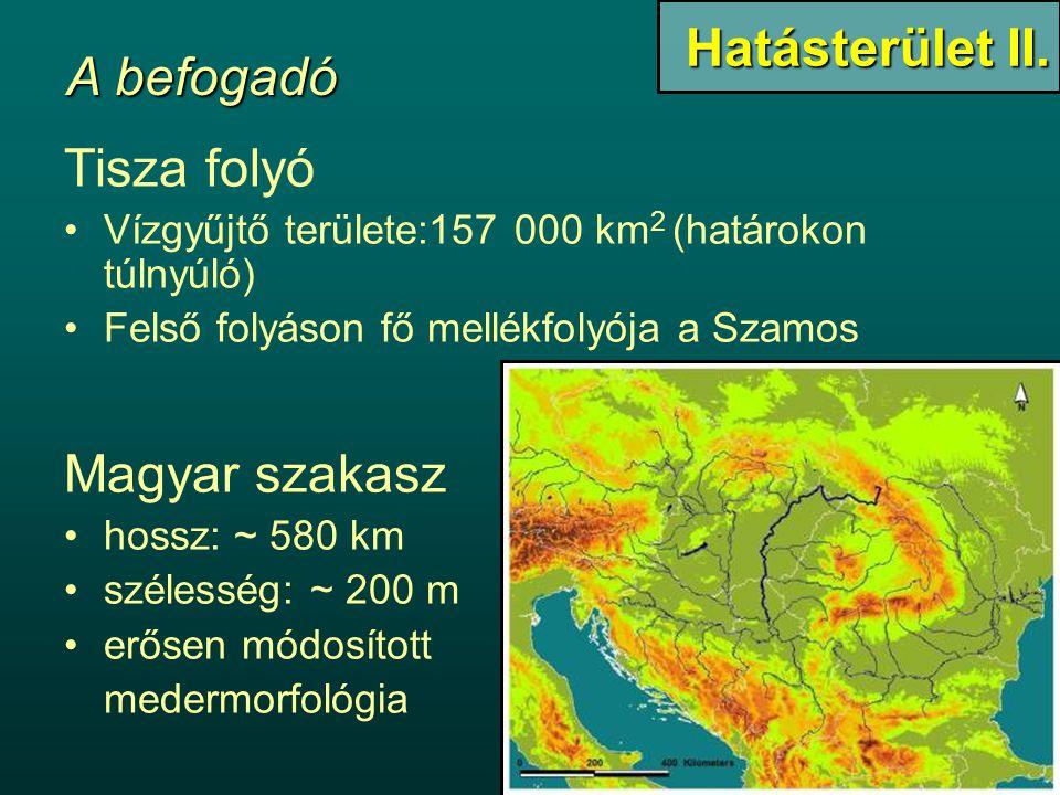 Tisza folyó Vízgyűjtő területe:157 000 km 2 (határokon túlnyúló) Felső folyáson fő mellékfolyója a Szamos Magyar szakasz hossz: ~ 580 km szélesség: ~ 200 m erősen módosított medermorfológia Hatásterület II.