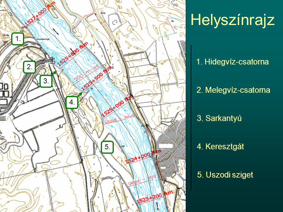Helyszínrajz 2. Melegvíz-csatorna 1. Hidegvíz-csatorna 3. Sarkantyú 4. Keresztgát 5. Uszodi sziget 1. 2. 5. 3.4.