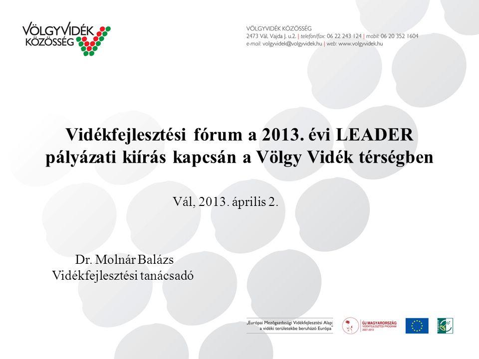 Vidékfejlesztési fórum a 2013. évi LEADER pályázati kiírás kapcsán a Völgy Vidék térségben Dr.