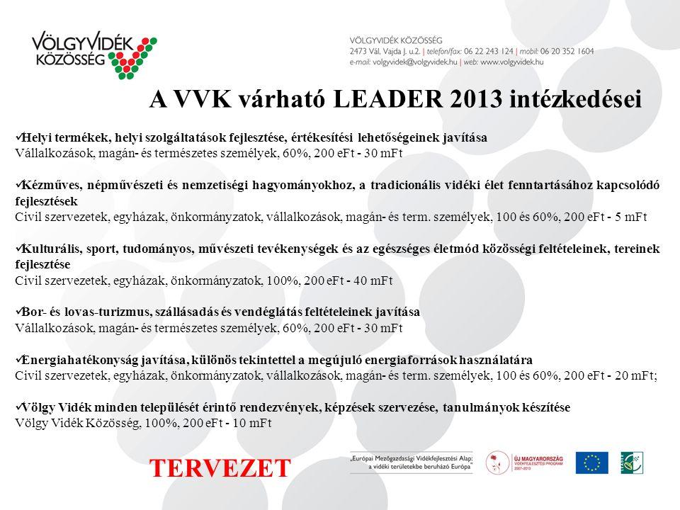 A VVK várható LEADER 2013 intézkedései Helyi termékek, helyi szolgáltatások fejlesztése, értékesítési lehetőségeinek javítása Vállalkozások, magán- és természetes személyek, 60%, 200 eFt - 30 mFt Kézműves, népművészeti és nemzetiségi hagyományokhoz, a tradicionális vidéki élet fenntartásához kapcsolódó fejlesztések Civil szervezetek, egyházak, önkormányzatok, vállalkozások, magán- és term.