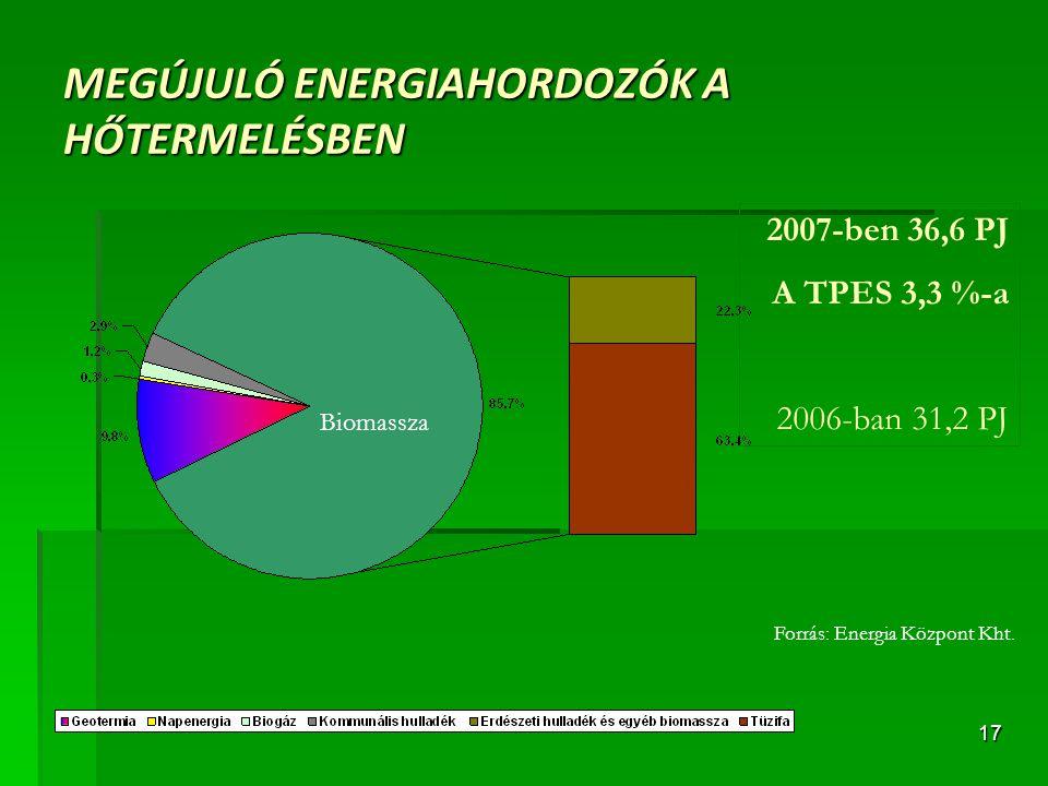 17 MEGÚJULÓ ENERGIAHORDOZÓK A HŐTERMELÉSBEN Forrás: Energia Központ Kht. 2007-ben 36,6 PJ A TPES 3,3 %-a 2006-ban 31,2 PJ Biomassza