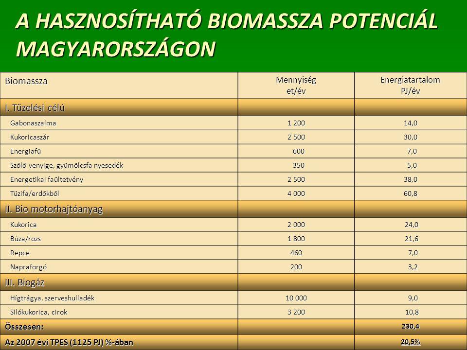 22 A HASZNOSÍTHATÓ BIOMASSZA POTENCIÁL MAGYARORSZÁGON BiomasszaMennyiséget/évEnergiatartalomPJ/év I. Tüzelési célú Gabonaszalma Gabonaszalma 1 200 14,