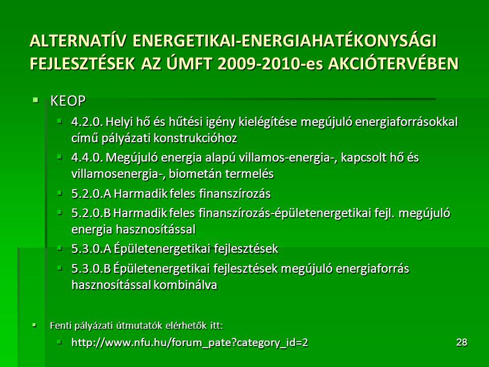 28 ALTERNATÍV ENERGETIKAI-ENERGIAHATÉKONYSÁGI FEJLESZTÉSEK AZ ÚMFT 2009-2010-es AKCIÓTERVÉBEN  KEOP  4.2.0. Helyi hő és hűtési igény kielégítése meg