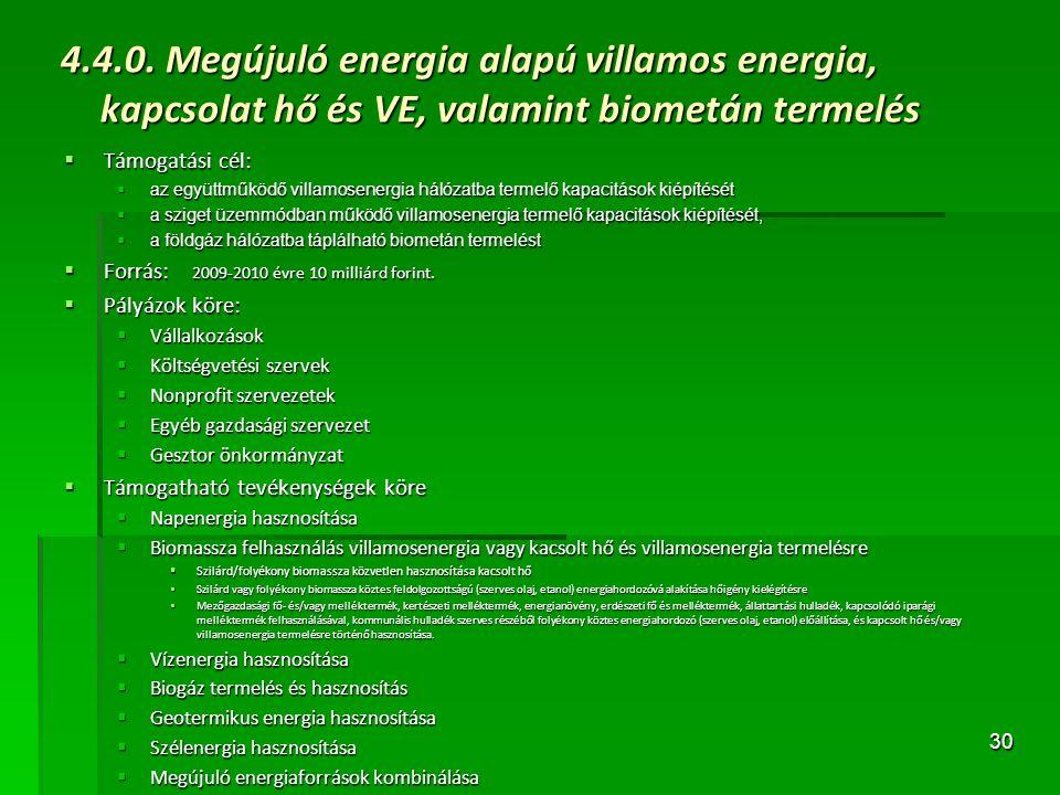 30 4.4.0. Megújuló energia alapú villamos energia, kapcsolat hő és VE, valamint biometán termelés  Támogatási cél:  az együttműködő villamosenergia