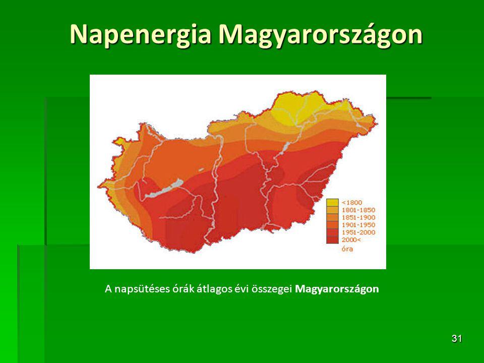 31 Napenergia Magyarországon A napsütéses órák átlagos évi összegei Magyarországon