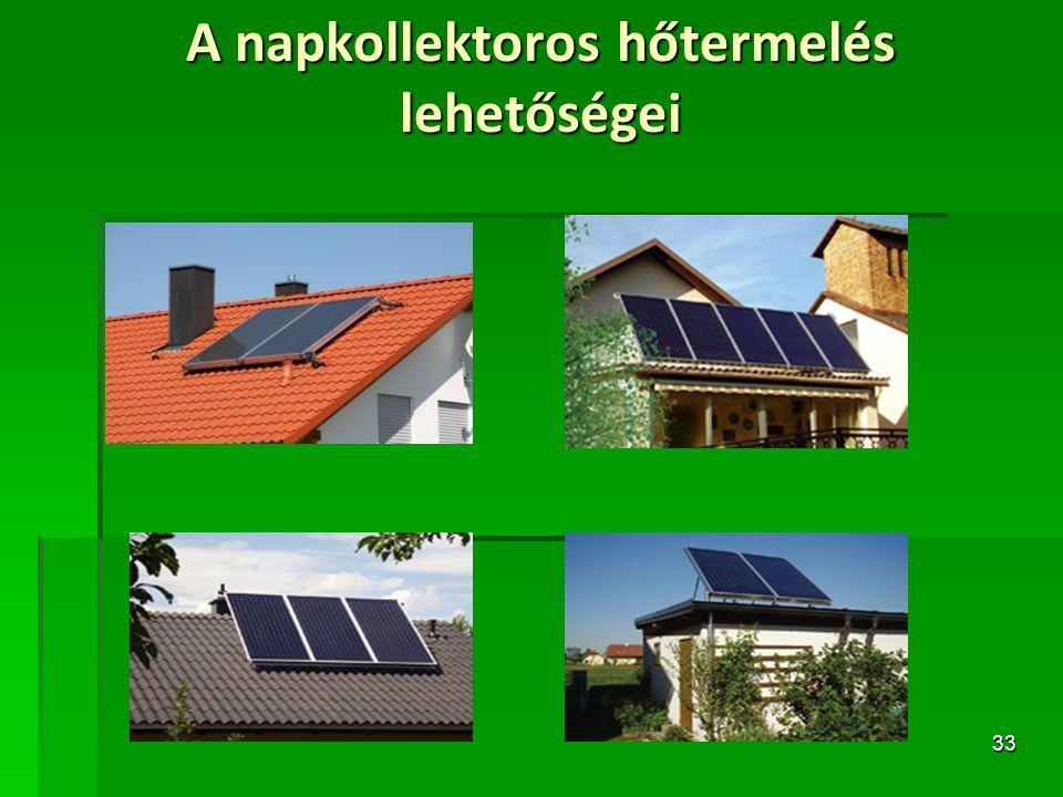 33 A napkollektoros hőtermelés lehetőségei