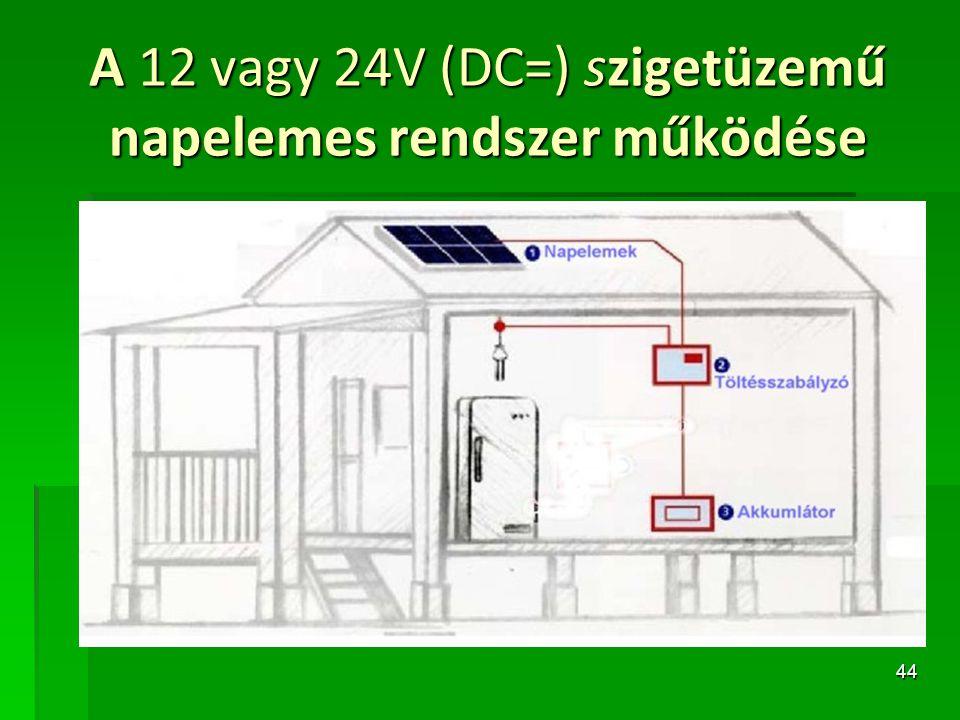 44 A 12 vagy 24V (DC=) szigetüzemű napelemes rendszer működése