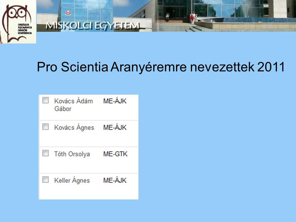 Pro Scientia Aranyéremre nevezettek 2011