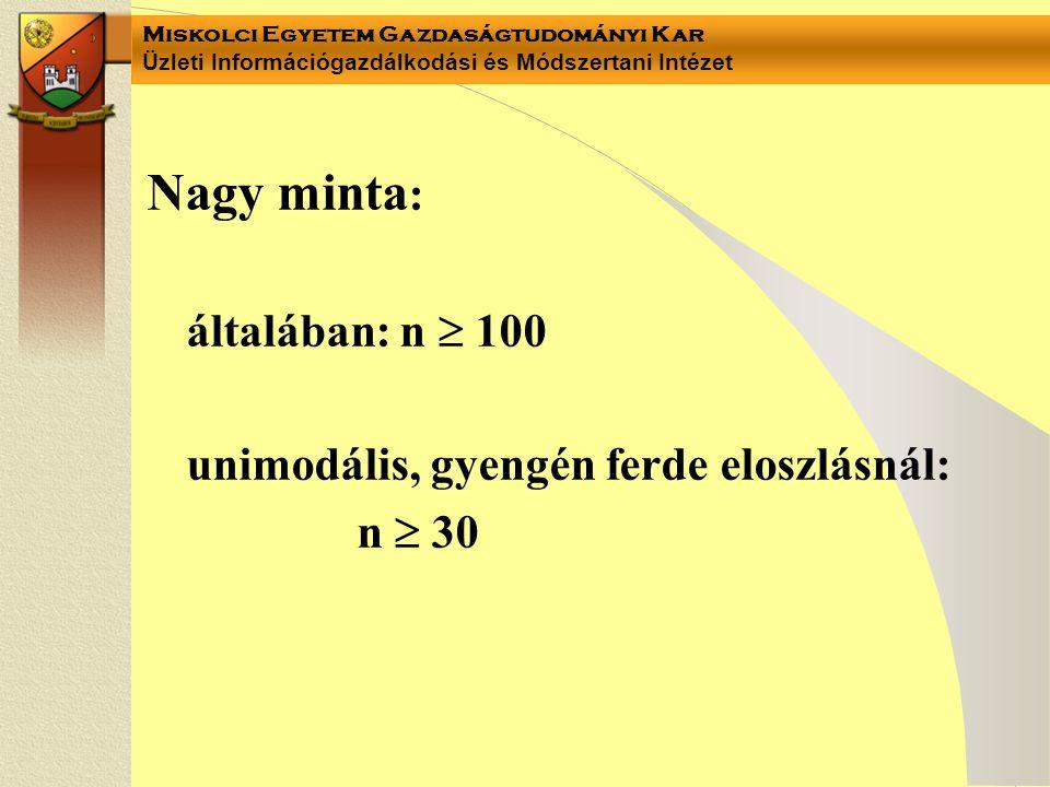 Miskolci Egyetem Gazdaságtudományi Kar Üzleti Információgazdálkodási és Módszertani Intézet Nagy minta : általában: n  100 unimodális, gyengén ferde eloszlásnál: n  30
