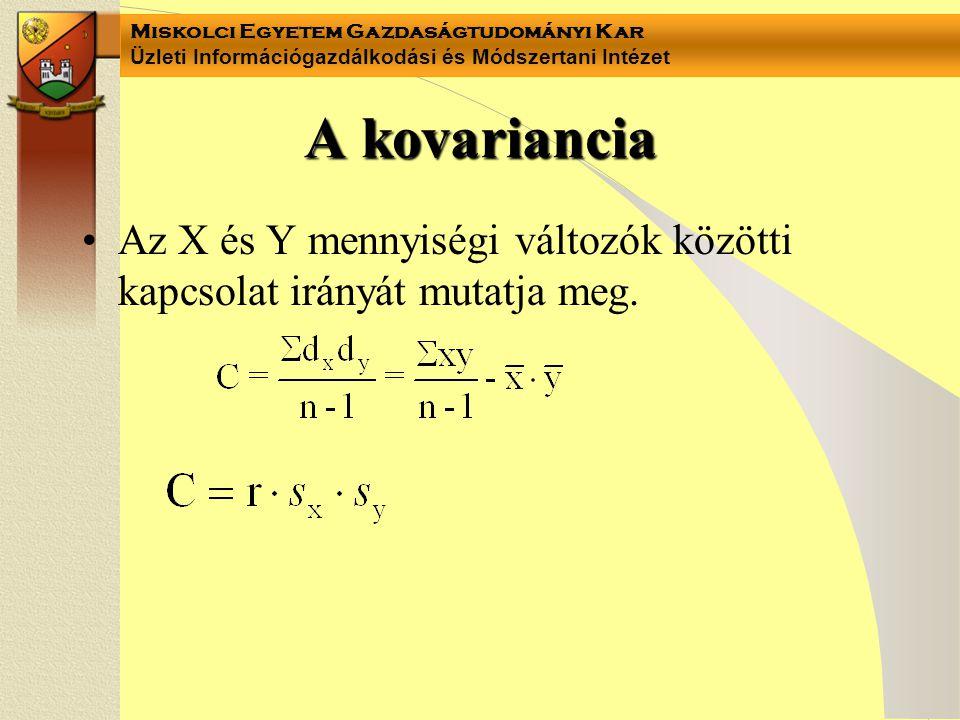 Miskolci Egyetem Gazdaságtudományi Kar Üzleti Információgazdálkodási és Módszertani Intézet A kovariancia Az X és Y mennyiségi változók közötti kapcso