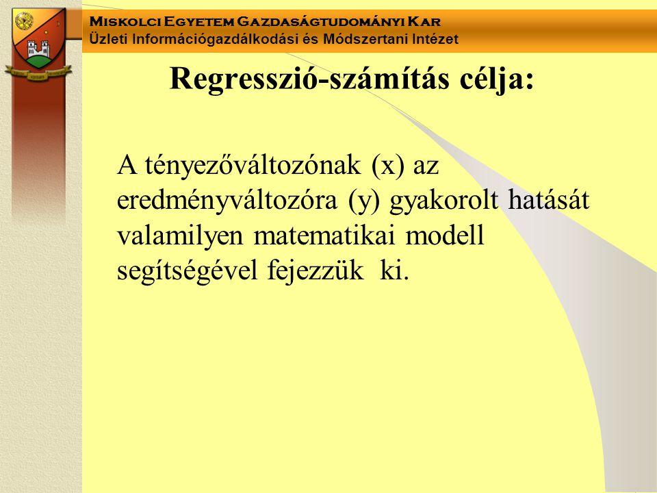 Miskolci Egyetem Gazdaságtudományi Kar Üzleti Információgazdálkodási és Módszertani Intézet Regresszió-számítás célja: A tényezőváltozónak (x) az ered