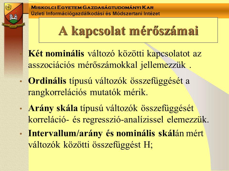 Miskolci Egyetem Gazdaságtudományi Kar Üzleti Információgazdálkodási és Módszertani Intézet Variancia-analízis tábla kétváltozós regresszió-számításnál