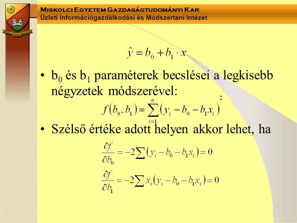 Miskolci Egyetem Gazdaságtudományi Kar Üzleti Információgazdálkodási és Módszertani Intézet b 0 és b 1 paraméterek becslései a legkisebb négyzetek mód