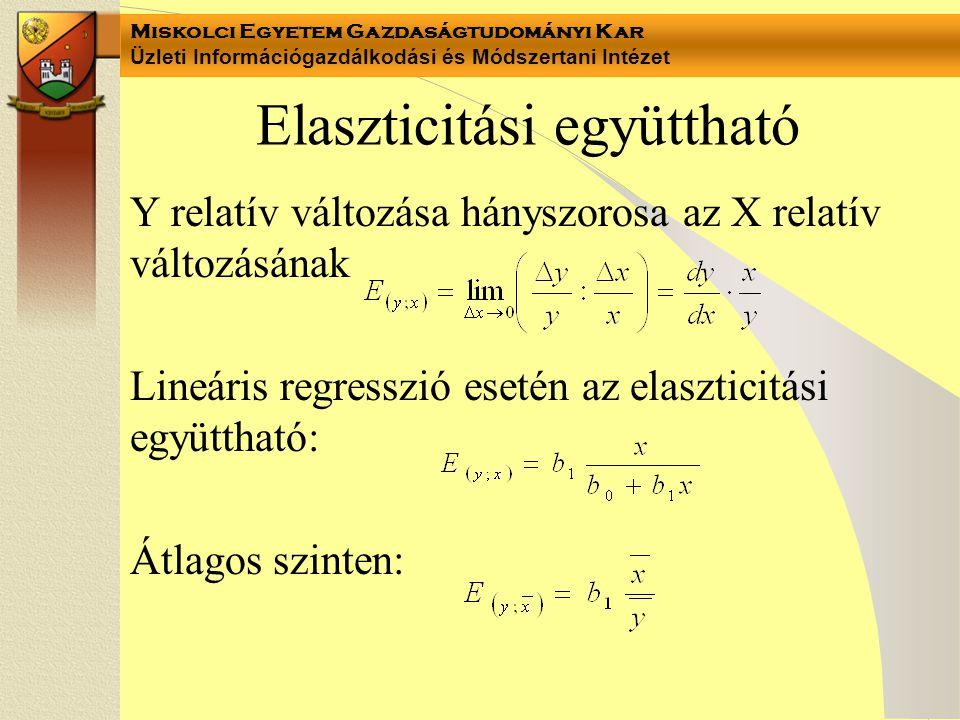 Elaszticitási együttható Y relatív változása hányszorosa az X relatív változásának Lineáris regresszió esetén az elaszticitási együttható: Átlagos szi