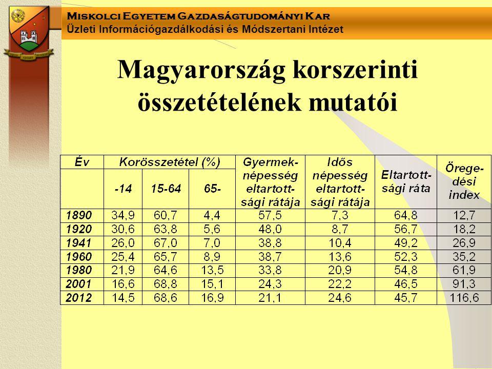 Miskolci Egyetem Gazdaságtudományi Kar Üzleti Információgazdálkodási és Módszertani Intézet Magyarország korszerinti összetételének mutatói