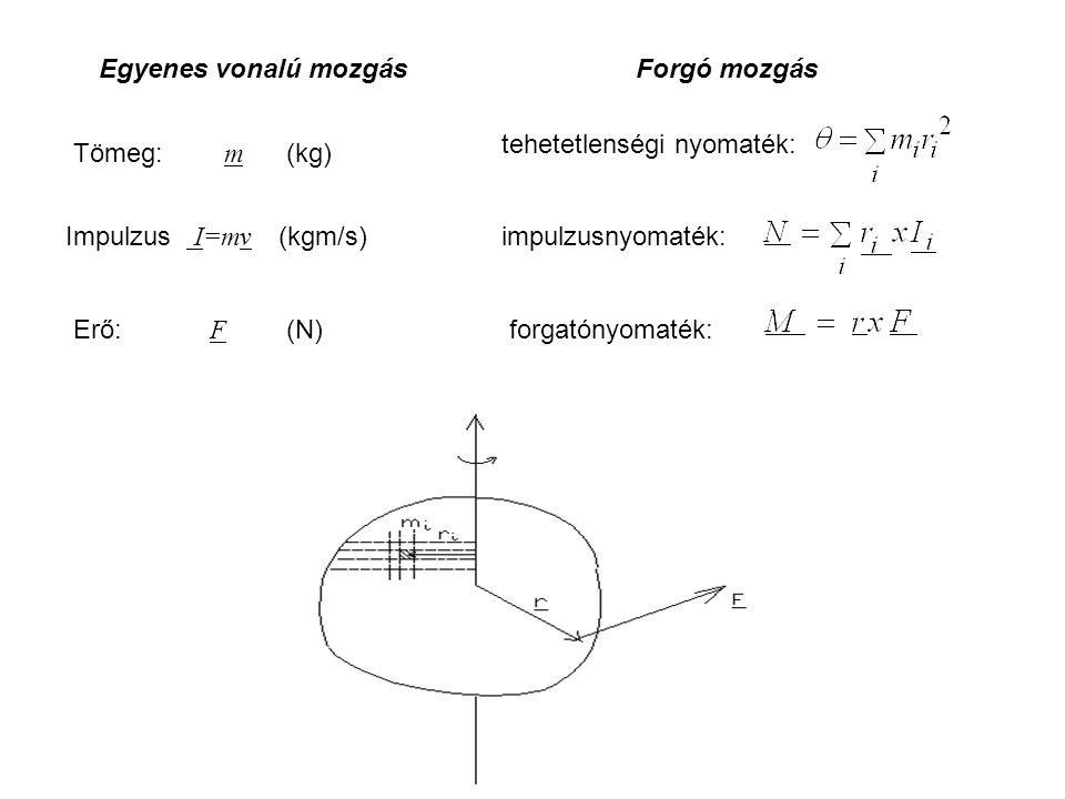 Egyenes vonalú mozgás Tömeg: m (kg) Impulzus I=mv (kgm/s) Erő: F (N) tehetetlenségi nyomaték: impulzusnyomaték: forgatónyomaték: Forgó mozgás